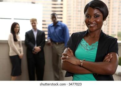 diverse team with black female leader