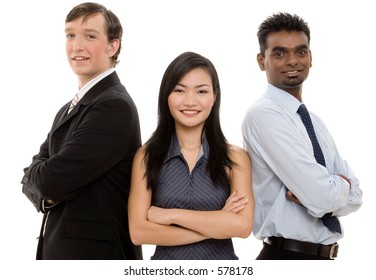 A diverse threesome form a happy business team