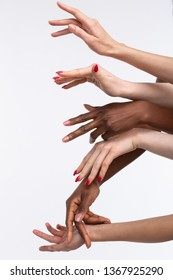 Diverse women. Hands of powerful diverse and very confident women with different skin color