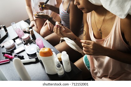 Diverse women with makeup cosmetics