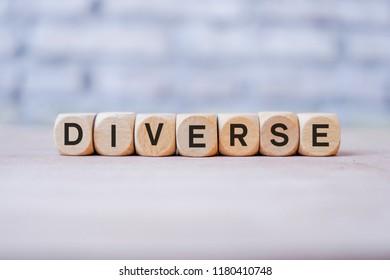 Diverse word written on wood block