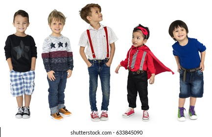 Diverse of Young Children People Studio Isolated