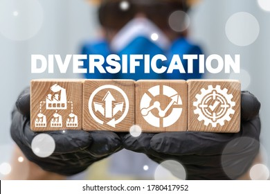 Diversification Industrial Concept. Diversify Industry Production. Manufacture Plant Variety.