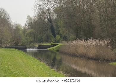 Diversion dam in the river called the Slingebeek in Winterswijk in the Achterhoek in the Netherlands