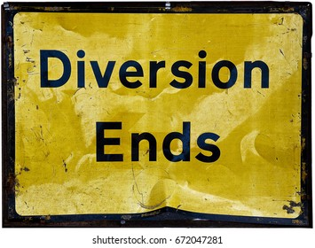 Diversion Ends; road sign
