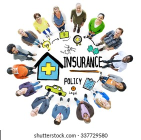 Diversity Casual People Insurance Policy Communication Team Concept