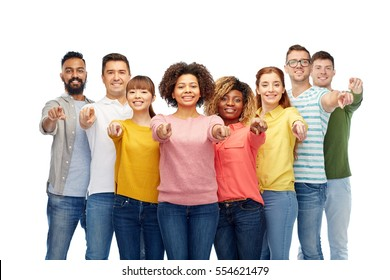 diversity, choice, ethnicity and people concept - international group of happy smiling men and women pointing finger on you over white