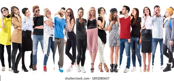 Diversity collage of casual people talking on mobile phone full body isolated on white background.