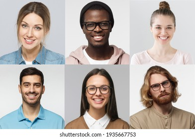 Diversity collage of portraits and faces of multiracial group of various smiling young people, best use for userpic and profile picture
