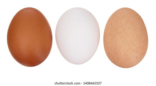 A diversity of eggs. Three chicken, hens eggs isolated on white. Different colors: brown white and speckled.
