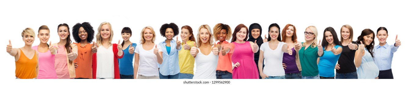 diversity and female unity concept - international group of happy smiling different women on white background showing thumbs up