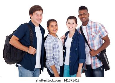 diversity group of teenage boys and girls isolated on white background