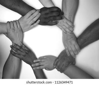 Diversity  hands  people  racial harmonny,