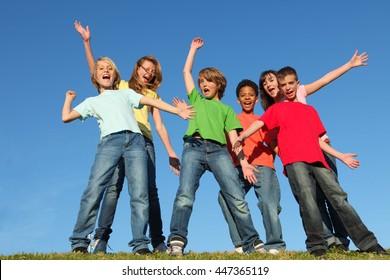 diversity kids or children group hands raised