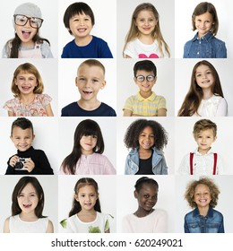 Diversity kids collection collage with face expression