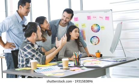 Diversity multiethnic team group of business people Present meeting conference room brainstorming business graph, chart. Multicultural Teamwork collaborate business team meeting together trust partner