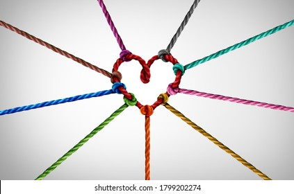 Diversity partnership and concept of team unity and teamwork idea as a business metaphor for joining diverse ropes connected together as a heart for cooperation and working collaboration.