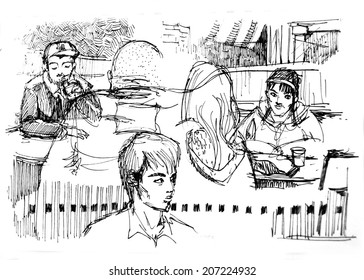 Diversity people in cafe illustration