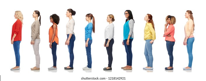 diversity and people concept - group of happy multiracial women standing in queue, isolated on white