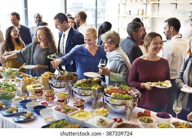 Diversity People Enjoy Buffet Party Concept