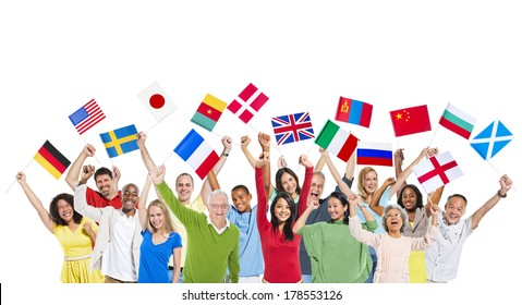 Diversity of People Holding World Flags