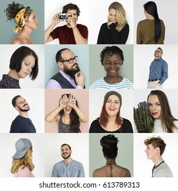 Diversity people with relax and playful expression collection collage