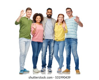 diversity, race, ethnicity and people concept - international group of happy smiling men and women waving hands over white