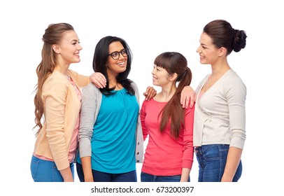 diversity, race, ethnicity and people concept - international group of happy smiling different women over white talking
