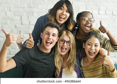 Diversity Students Friends Happiness Pose Concept
