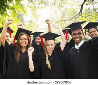 Diversity Students Graduation Success Celebration Concept