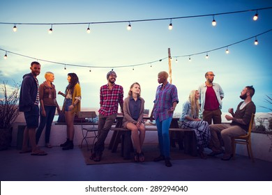 Diversity Sundown Beach Chatting Roof Top Fun Concept