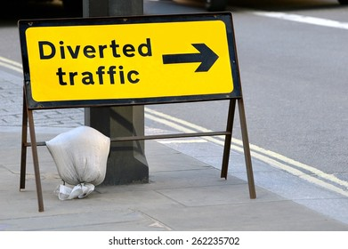 Diverted traffic sign London