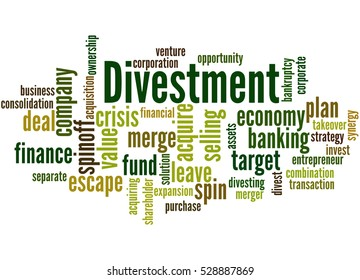 Divestment, word cloud concept on white background.