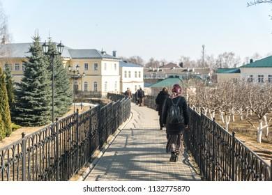 DIVEYEVO, NIZHNY NOVGOROD REGION, RUSSIA - 15 april 2018: Holy groove in the Holy Trinity Seraphim-Diveevo Women's Orthodox Monastery