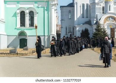 DIVEYEVO, NIZHNY NOVGOROD REGION, RUSSIA - 15 april 2018: Nuns and novices make a procession in the Holy Trinity Seraphim-Diveevo Women's Orthodox Monastery