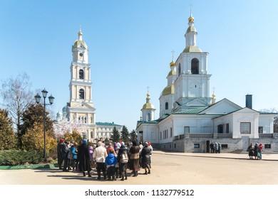DIVEYEVO, NIZHNY NOVGOROD REGION, RUSSIA - 15 april 2018: Excursion to the Holy Trinity Seraphim-Diveevo women's Orthodox monastery