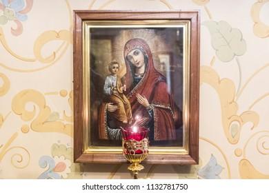 DIVEYEVO, NIZHNY NOVGOROD REGION, RUSSIA - 15 april 2018: The interiors of the churches in the Holy Trinity Seraphim-Diveevo women's Orthodox monastery
