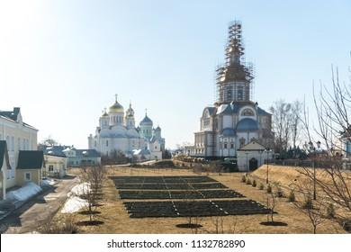 DIVEYEVO, NIZHNY NOVGOROD REGION, RUSSIA - 15 april 2018: Holy buildings in the Holy Trinity Seraphim-Diveevo women's Orthodox monastery
