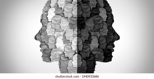 Divided culture and social group divisions or cultural war between ideology and racism or conservative and liberal political clash of ideas and community psychology in a 3D illustration style.
