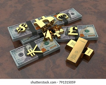 Divided into pieces by the bitcoin cryptocurrency into bundles of U.S. dollars and gold currency symbols. The idea of the fall of bitcoin exchange rate, cryptocurrency inflation. 3D rendering.