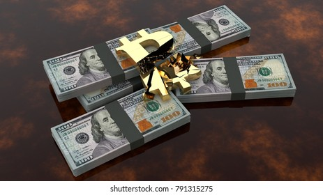 Divided into pieces by bitcoin, the cryptocurrency on packs of dollars. The idea of the fall of bitcoin exchange rate, cryptocurrency inflation. 3D rendering.