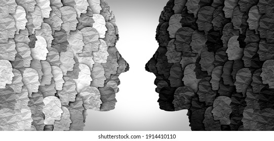 Divided social groups and culture war between conservative and liberal political clash of ideas or community psychology. - Shutterstock ID 1914410110