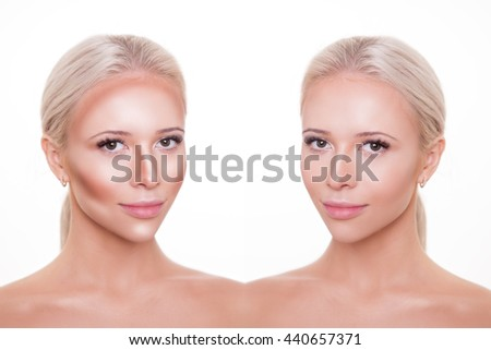 divided woman face before after blending stock photo edit now