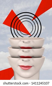 Divided woman head. Surreal portrait of a woman. Contemporary art collage