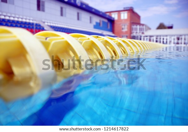 Dividers Paths Big Outdoor Swimming Pool Stock Image ...