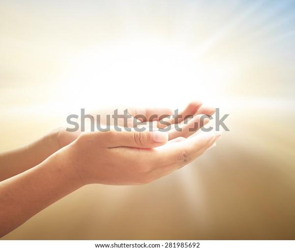 Divine Blessing Healing Concept Prayer Open Stock Photo