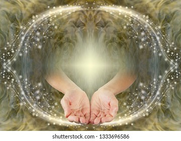 Divine Blessings for You - female  hands side by side in open cupped position emerging from a sepia gold coloured sparkling oval frame border with a central glowing cross and copy space above