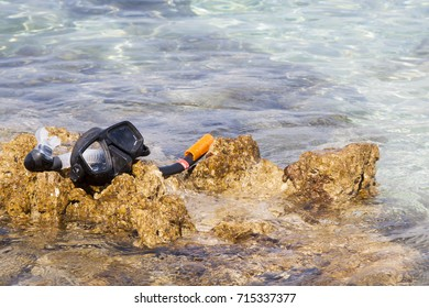 diving accessories on the seashore