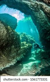 Diving in the Casa Cenote, Yucatan, Mexico
