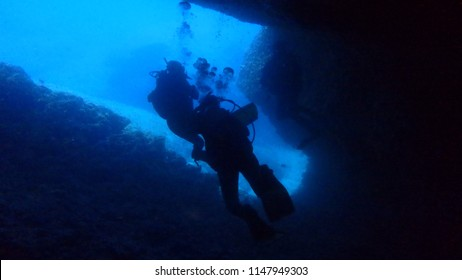 Diving in a cave